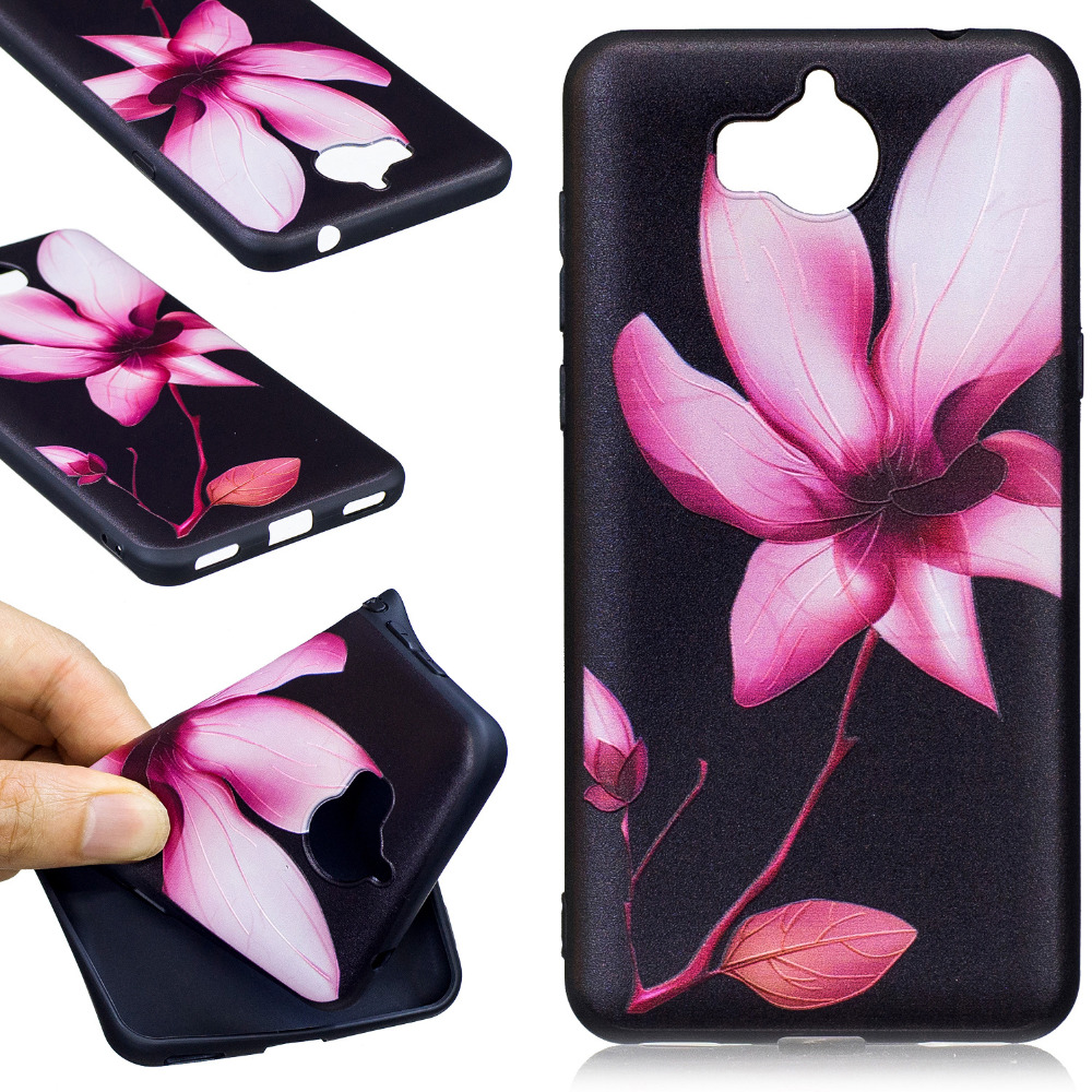 2018 trend fashion TPU printed flower mobile phone shell case back cover for huawei y5 2017