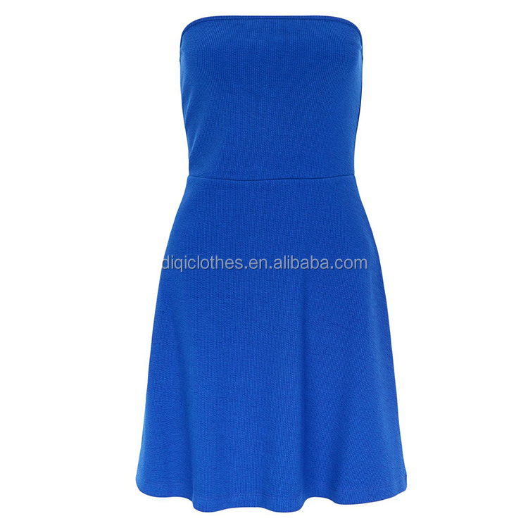 Newest Fashion Lady Bandeau Sleeveless Design Mini Length Blue Bodycon Skater Dress
