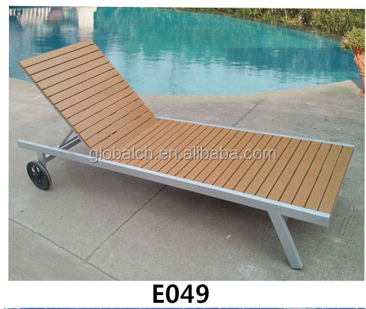 WPC Beach Chaise Lounge/Sun Lounger Bed With Wheel