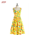 New design women printed midi dress for lady