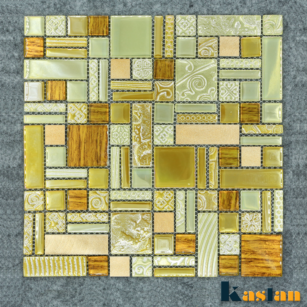 8mm metallic gold color foil backsplash glass mosaic tile for bathroom