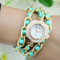2015 New Designer Women's Faux Pearls Rhinestone Wrap Bracelet Quartz Analog Wrist Watch 9 Colors