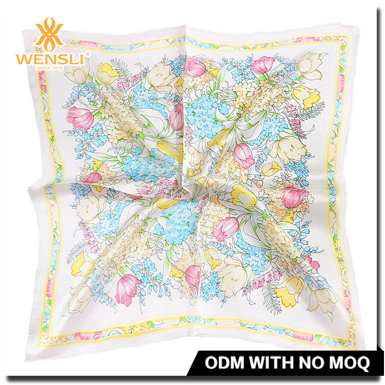 Elegant Flowers High Quality Digital Print New Fashion Design Silk Twill Custom Silk Scarf Square Scarves Supplier