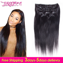 Unprocessed Peruvian Straight Human Hair Clip In Extensions 10 pcs/ set Natural Color Full Head Straight Virgin Hair Clip Ins