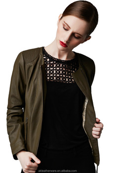 Womens Fashion Green Quilted Leather Jacket