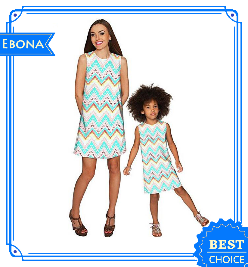 2016 Fashion Summer Mommy And Me Matching Dresses Family Matching Clothing
