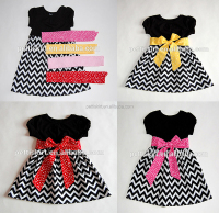 Baby Girls Chevron Frocks With Bowknot Baby Casual Dresses Designs