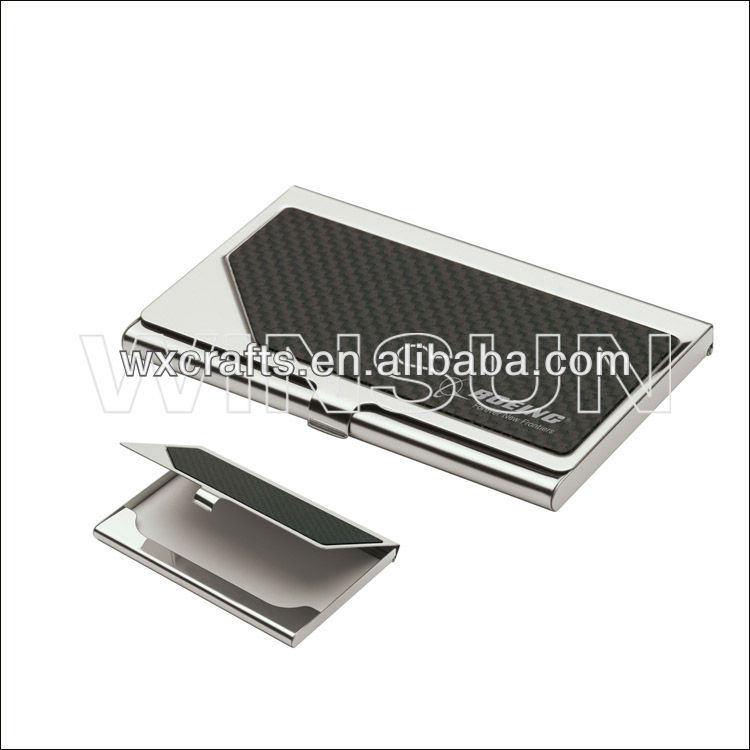 carbon fiber stainless steel name card holder, metal card case