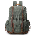 Large Waxed Canvas and Leather Backpack Bag Waterproof Bagpack