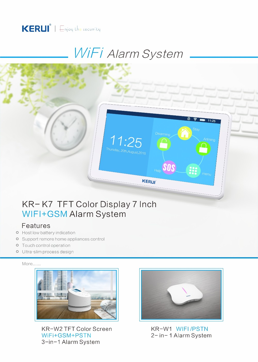 2017 Ultra-slim WIFI home&office alarm system touch screen WIFI / GSM smart home KR-K7