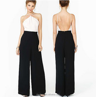 Summer wear backless playsuit new dress sexy strapless backless loose pants two color chiffon jumpsuits annual evening suit