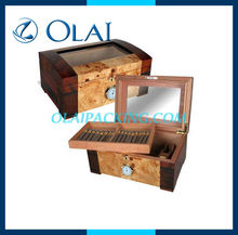 luxury Wooden Cigar Box with hygrometer,PVC window Wooden humidor box,solid wood Cigar display box