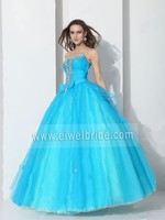 S1206 Strapless beading sleeveless ball gown tulle turquoise wedding dress