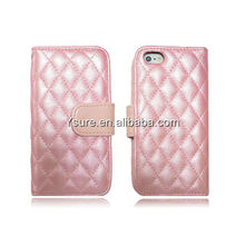Hot Selling 2013 Quilted PU Leather Flip Case for Apple iphone5 with Credit Card Slot