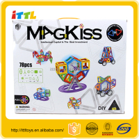 Best selling DIY 3D building block,78pcs magnetic building blocks toys