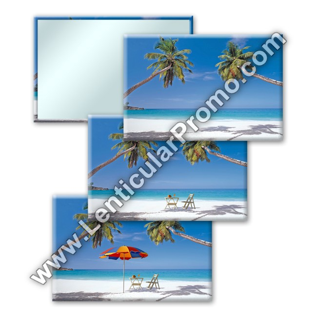 Souvenir Gift Custom Promotional Travel Lenticular Mirror Tropical Hawaiian Beach Umbrella Lawn Chair Vacation