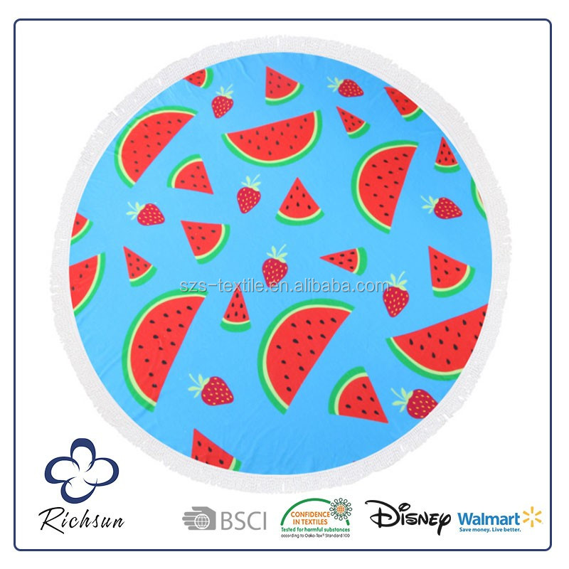Novelty Printed Watermelon Shaped Round Beach Towel from China