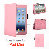 High Quality Colorful Frame Deluxe Leather Stand Case for ipad mini cover
