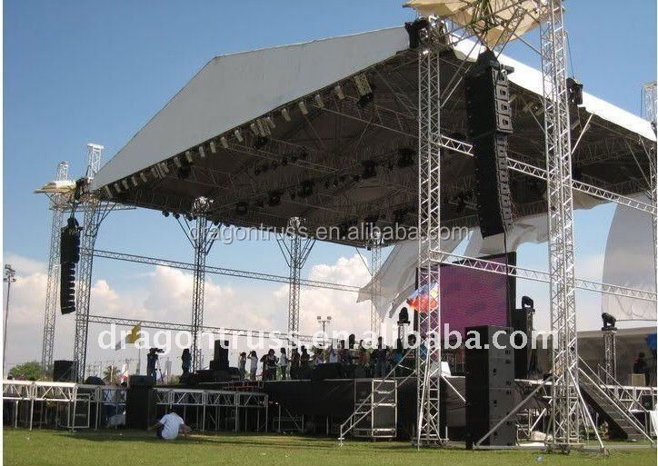 tent roof truss for outdoor events, truss for hanging speakers, aluminum truss with platform