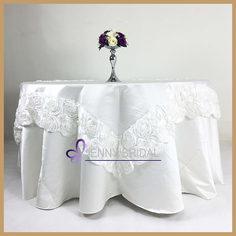 TC034 Plain white snowman damask cotton table cloth with table overlay for weddings