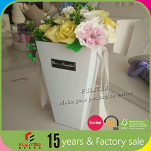 Fat pack cone carton fresh flower packaging box with handle