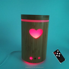 2017 New innovative remote control bamboo aroma diffuser cutout essential oil set aromatherapy humidifier LED air purifier