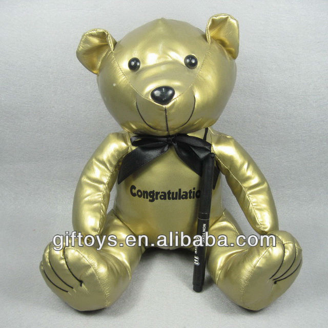 Lovely Golden Leather Teddy Bear with Signature Pen