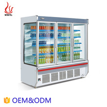 Wiberda frozen food refrigerant adjustable shelf 4 multi deck display chiller open supermarket freezer