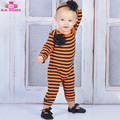 Long Sleeve Long Leg Infant Halloween Romper Jumpsuit Orange And Black Striped Baby Boy Girl Romper Playsuit