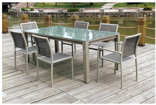 Garden furniture extension stainless steel table and chairs set