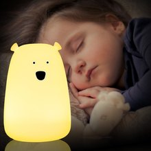 Big Bear USB Rechargeable Soft Silicone LED Night Light Baby Kids Adults Bedroom Desk Lamp