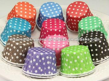 Wholesale discount Polka Dot themed party supplies White Polka Dots Nut Cups 50mm base x39mm tall