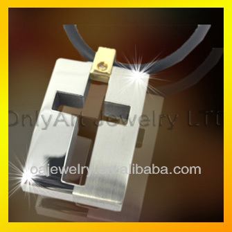 square cross pendant shiny polished titanium or stainless steel pendant for women or men