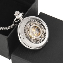 Vintage Silver Engraved Case Men Mechanical Pocket Watch With Chain Box Hand-Winding Best Gift Pendant Necklace