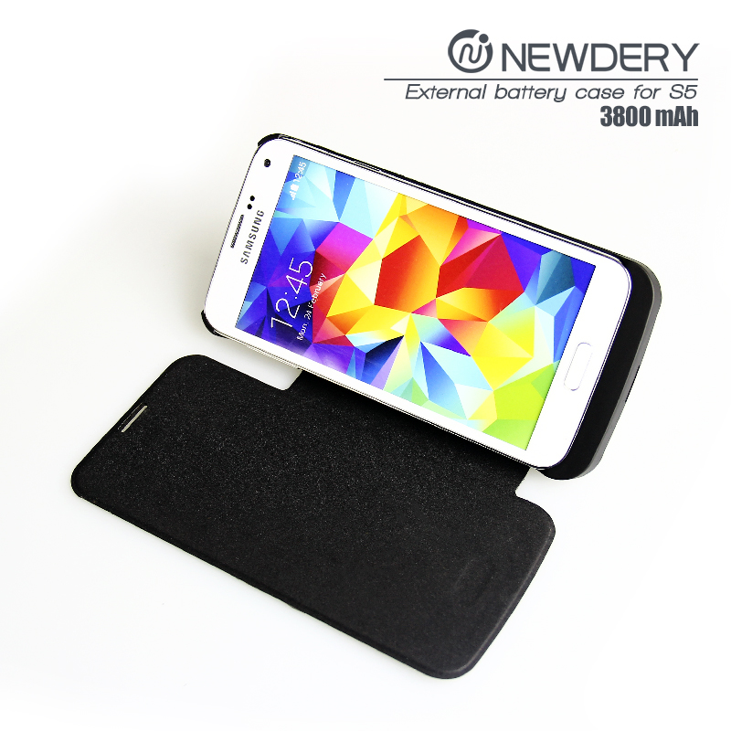 External Battery Power Case for Samsung Galaxy S5 with Stand Flip Cover backup battery power bank charger
