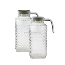 1800ml diamond design clear glass milk /water / juice / jug with handle and lid