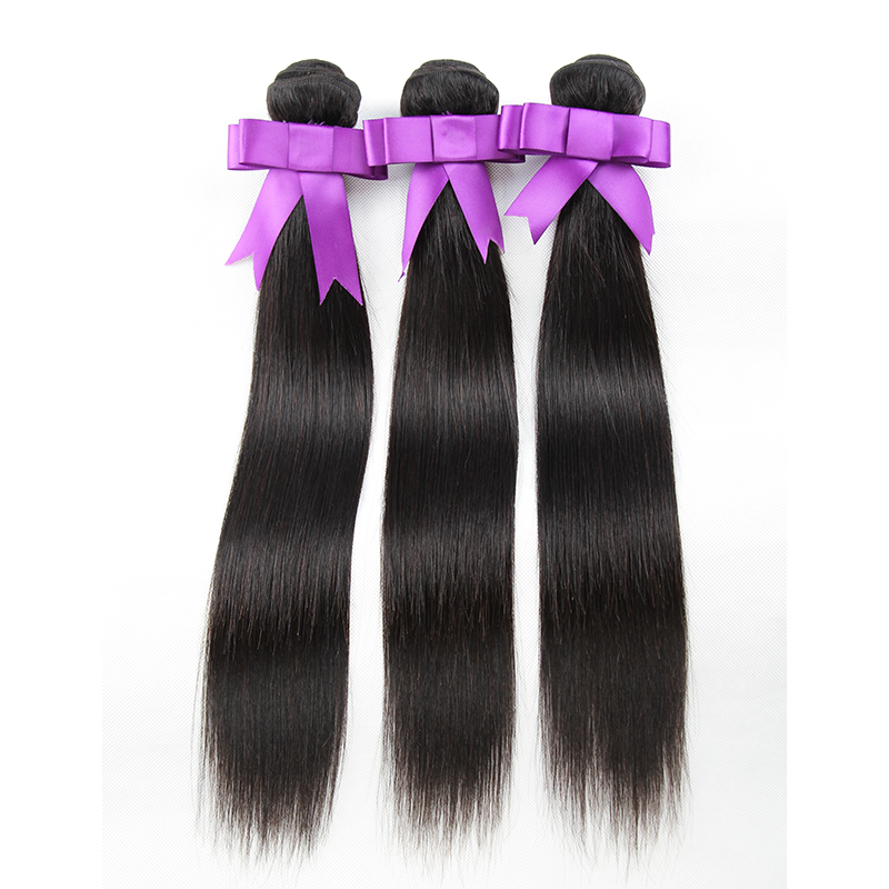 KEMY HAIR Pre-Colored 100% Human Hair Weaves Natural Color 3Pcs/pack/300g Brazilian Straight Hair Bundles Non-Remy Extension