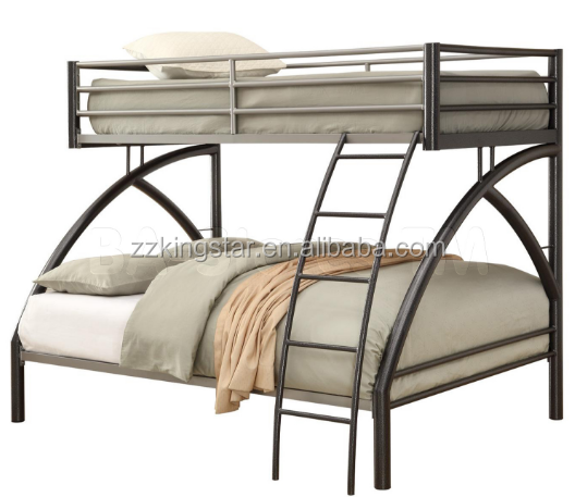 Modern style metal frame twin over queen bunk bed with curve pillar and ladder