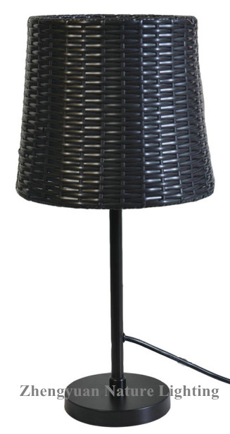 Black rattan weaving table lamp for outdoor or indoor