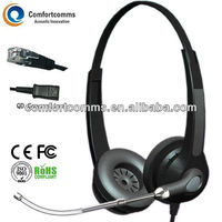 Binaural call center high quality headset rj11 with noise-canceling mic HSM-902TPQDRJ
