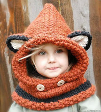 2015 New Design Fox Ear Winter Windproof Baby Hats And Scarf Set For Kids Boys Girls Shapka Caps