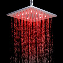 new 10-inch Square Rain fall Shower Head 3 Colors LED Changing Bathroom Temperature Sensor Over-head Spray