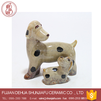 Handmade Ceramic Mini Dog figurines For Kid Room Decor, Miniature Ceramic Dog