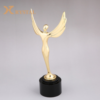 Custom Creative Company Souvenir Logo Oscar Small Gold Metal Crystal Angel Trophy