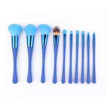 Hot popular 10pcs makeup brushes set blue cosmetic brush kit private label OEM factory make up brushes