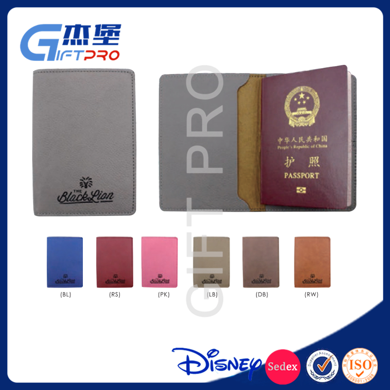 Make your company logo leather passport cover wallet case for business card credit cards