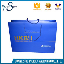 wholesale blue color printing square bottom paper bag with your own logo shopping