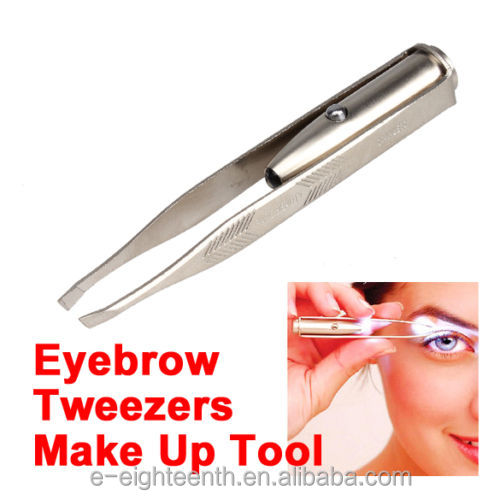 Stainless Steel Make Up LED Light Eyelash Eyebrow Hair Removal tweezers