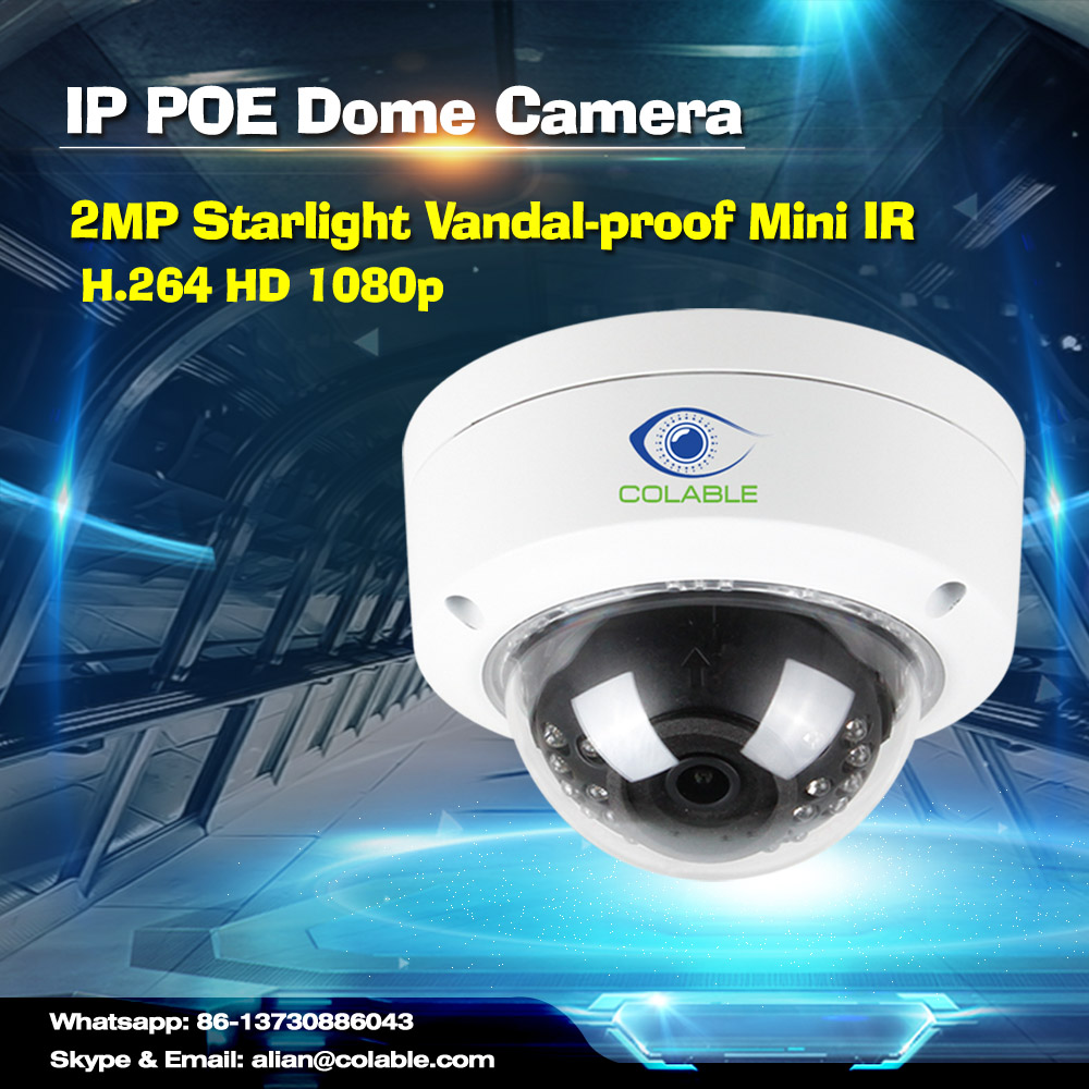 New arrival COL-SV2201WUR2P full HD 1080p 2MP Starlight Vandalproof Mini IR Dome Camera webcam