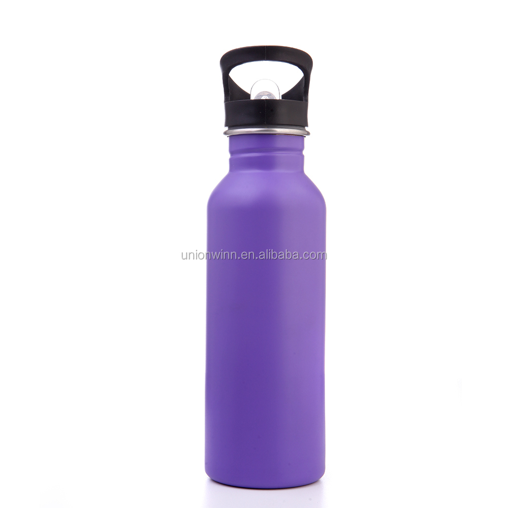 Custom logo printed cheap price 600ml stainless steel water bottle with carabiner
